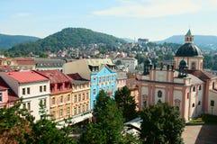 Opinión sobre el centro histórico de Decin en República Checa Foto de archivo libre de regalías
