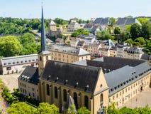 Opinión sobre el distrito de Grund de la ciudad de Luxemburgo Fotos de archivo libres de regalías