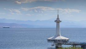 Opinión sobre el edificio del observatorio subacuático en Eilat, Israel Fotos de archivo