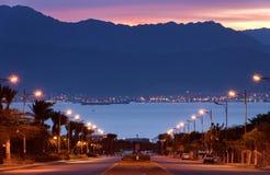 Opinión sobre el golfo de Aqaba, Eilat, Israel de la mañana Fotografía de archivo
