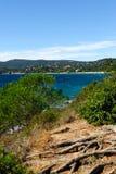 Opinión sobre el La Croix-Valmer de la playa Foto de archivo libre de regalías