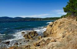 Opinión sobre el La Croix-Valmer de la playa Imágenes de archivo libres de regalías