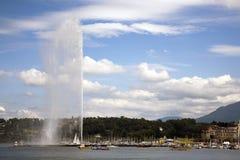 Opinión sobre el lago Ginebra Fotografía de archivo