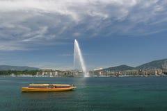 Opinión sobre el Leman en Ginebra fotos de archivo