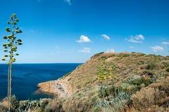 Opinión sobre el Mar Egeo imagenes de archivo