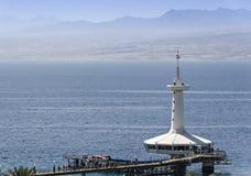 Opinión sobre el Mar Rojo y el observatorio subacuático marino, Eilat, Israel Foto de archivo libre de regalías