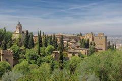 Opinión sobre el palacio de Alhambra en España Imagen de archivo