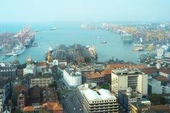 Opinión sobre el puerto de Colombo Imagen de archivo