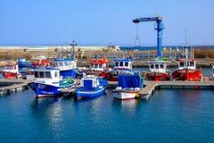 Opinión sobre el puerto de Gran Tarajal en Fuerteventura, España Pictur Imagen de archivo libre de regalías