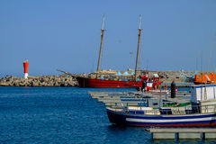 Opinión sobre el puerto de Gran Tarajal en Fuerteventura, España Pictur Imágenes de archivo libres de regalías