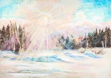 Opinión sobre el sol del invierno Fotografía de archivo libre de regalías