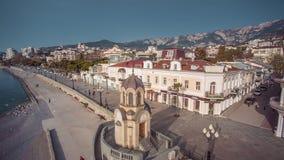 Opinión sobre el terraplén de Yalta almacen de video