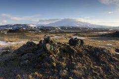 Opinión sobre el volcán de Hekla Imagen de archivo libre de regalías