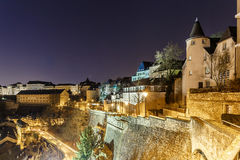 Opinión sobre Grund y abadía en Luxemburgo Imágenes de archivo libres de regalías