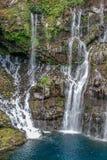 Opinión sobre la cascada con la selva en Reunion Island foto de archivo