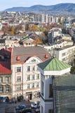 Opinión sobre la ciudad, casas visibles, bloques de viviendas, mou Imágenes de archivo libres de regalías