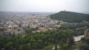 Opinión sobre la ciudad de Atenas almacen de metraje de vídeo