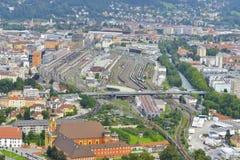Opinión sobre la ciudad de Innsbruck Imagen de archivo