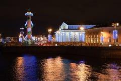 Opinión sobre la flecha de la isla de Vasilevsky, St. - Petersburgo Imagen de archivo