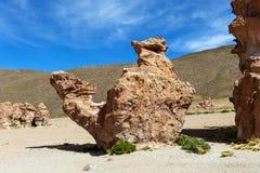 Opinión sobre la formación de roca del camello en el altiplano de Bolivean - departamento de Potosi, Bolivia imágenes de archivo libres de regalías