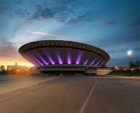 Opinión sobre la parte social de Katowice durante puesta del sol dramática Fotografía de archivo