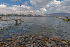 Opinión sobre la playa central de Eilat Foto de archivo