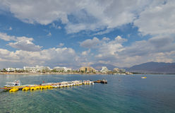Opinión sobre la playa central de Eilat Fotos de archivo
