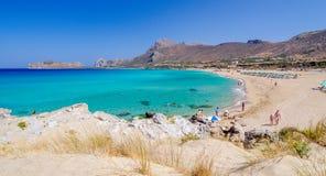 Opinión sobre la playa hermosa de Falasarna en la isla de Creta Foto de archivo libre de regalías