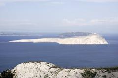 Opinión sobre las islas en el mar adriático Fotografía de archivo