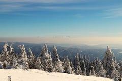 Opinión sobre las montañas de Tatra de la helada del hora de Lysa, en República Checa Imagenes de archivo