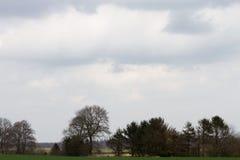 Opinión sobre las nubes sobre el área del árbol en el emsland Alemania del rhede fotografía de archivo libre de regalías
