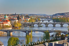 Opinión sobre los puentes de Praga Fotografía de archivo