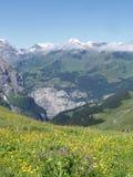 Opinión sobre Muerren Suiza Foto de archivo