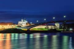 Opinión sobre Novgorod el Kremlin en la noche Imagen de archivo libre de regalías