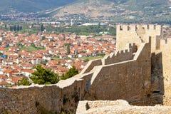 Opinión sobre Ohrid de la fortaleza vieja. foto de archivo