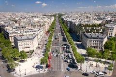 Opinión sobre París de Arc de Triomphe Foto de archivo libre de regalías