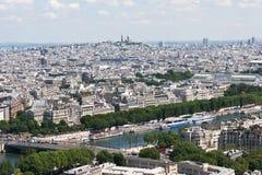 Opinión sobre París de la torre Eiffel Imágenes de archivo libres de regalías