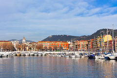 Opinión sobre puerto Niza, francesa de riviera, Francia Fotografía de archivo