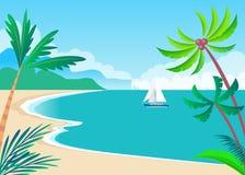 Opinión sobre Sunny Coast con las palmas y el buque lindo Imagenes de archivo