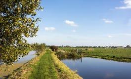 Opinión sobre un paisaje holandés típico cerca del Gouda y de Haastrecht La trayectoria es parte del Pelgrimspad fotos de archivo libres de regalías