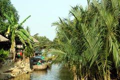 Opinión sobre un río con los barcos redondos vietnamitas tradicionales entre las palmeras del coco Fotografía de archivo