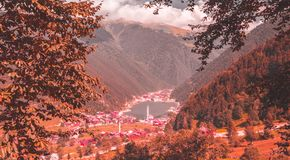 Opinión suave del paisaje del otoño de Uzungol Imagenes de archivo
