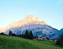 Opinión suiza de la aldea con el fondo de Jungfrau Foto de archivo