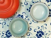 Opinión superior china del conjunto de té foto de archivo libre de regalías