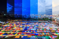 Opinión superior de diverso color de la sombra de la tienda de lona en el mercado al aire libre Foto de archivo libre de regalías
