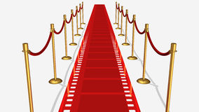 Opinión superior de la alfombra roja de la película Imagen de archivo