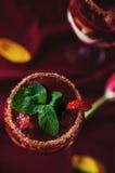 Opinión superior de la bagatela de las fresas, del chocolate y del mascarpone Fotografía de archivo