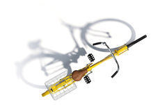 Opinión superior de la bicicleta amarilla Fotos de archivo libres de regalías