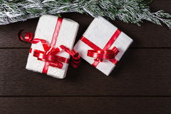 Opinión superior de la caja de regalo de la Navidad con el espacio de la copia Foto de archivo