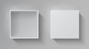 Opinión SUPERIOR de la caja realista Maqueta blanca abierta del paquete, paquete de papel en blanco cerrado de caja de regalo de  ilustración del vector
